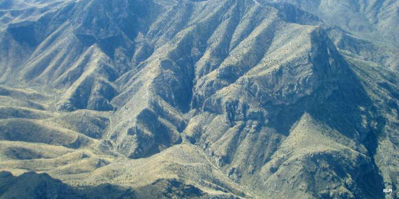 An aerial view into the Mormon Mountains