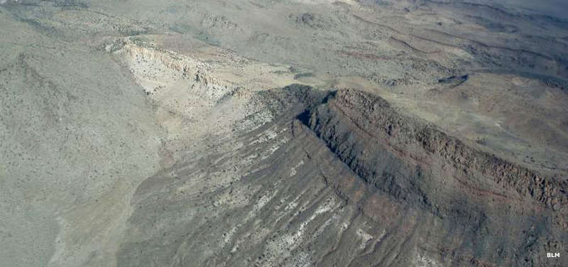 An aerial view of a limestone ridge in South Pahroc Range Wilderness, Nevada