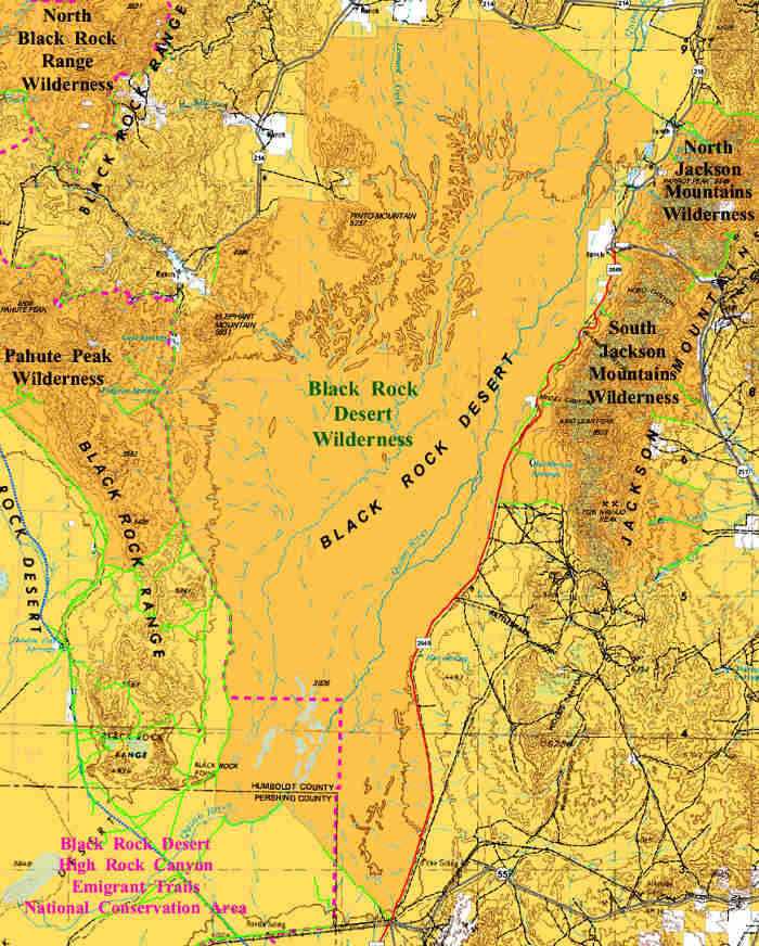 Map of the Black Rock Desert Wilderness area