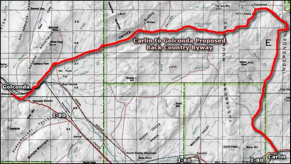 Carlin to Golconda Proposed Backcountry Byway area map