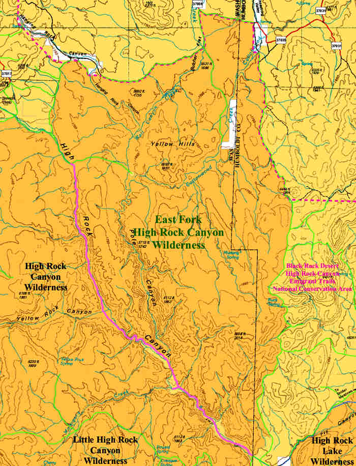 Map of the East Fork High Rock Canyon Wilderness area