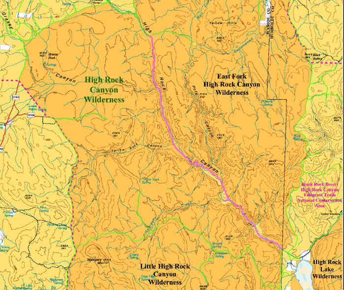 Map of the High Rock Canyon Wilderness area
