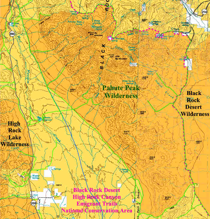 Pahute Peak Wilderness map