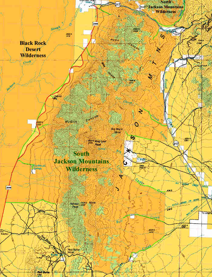 South Jackson Mountains Wilderness map