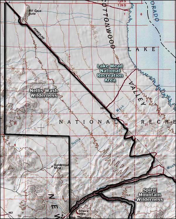 Map of Nellis Wash Wilderness