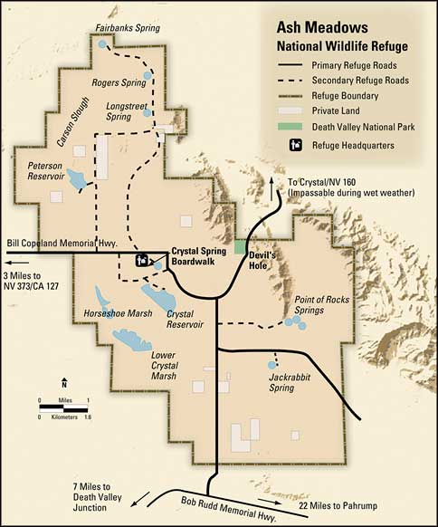 Map of Ash Meadows National Wildlife Refuge