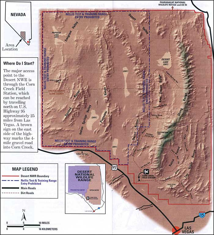 Map of Desert National Wildlife Refuge