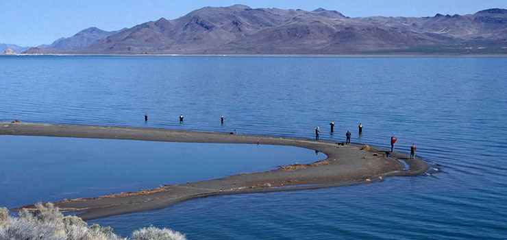 Fishermen doing their thing along the Pyramid Lake Scenic Byway