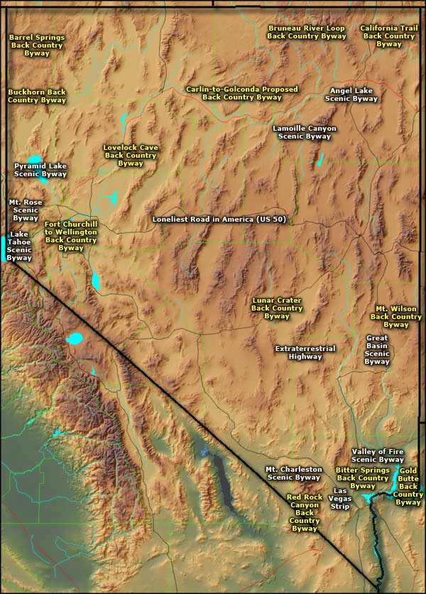 Map of the Nevada Scenic Byways