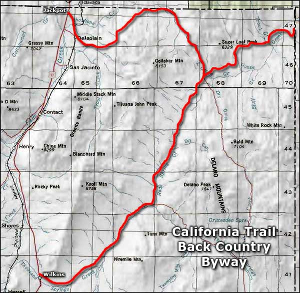 California Trail Backcountry Byway area map