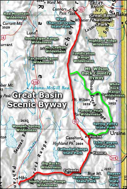 Great Basin Scenic Byway area map