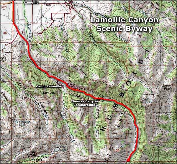 Lamoille Canyon Scenic Byway map