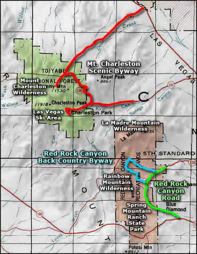 Red Rock Canyon National Conservation Area area map