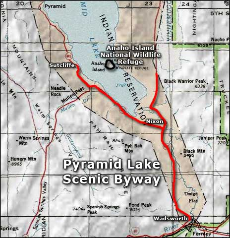 Map of the Pyramid Lake area