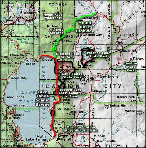 Lake Tahoe area map