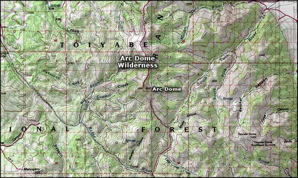 Arc Dome Wilderness map