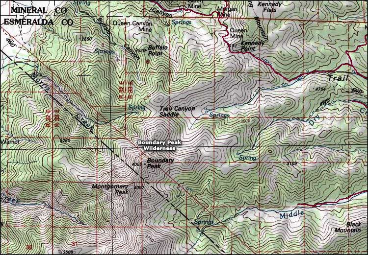 Boundary Peak Wilderness map