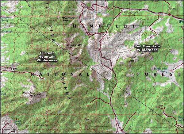 Currant Mountain Wilderness map