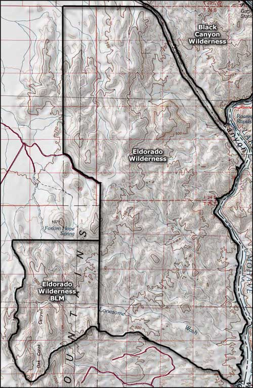 Eldorado Wilderness area map