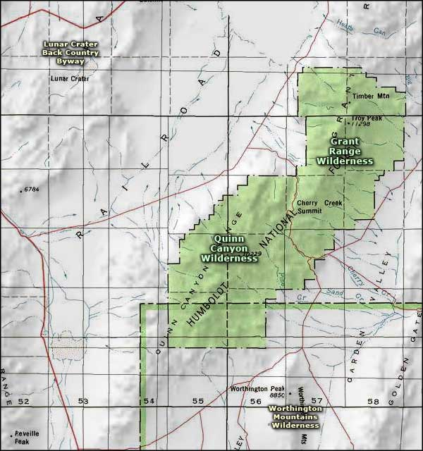 Grant Range Wilderness area map