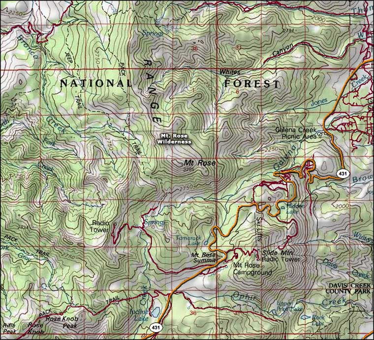 Mt. Rose Wilderness map