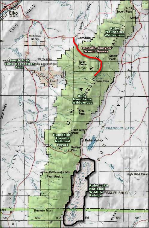 Ruby Mountains area map