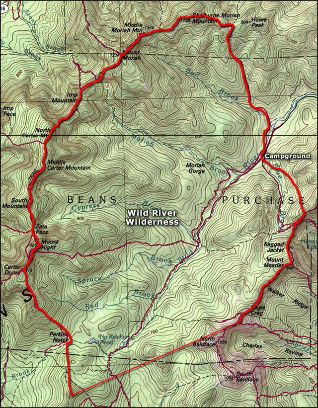 Map of the Wild River Wilderness