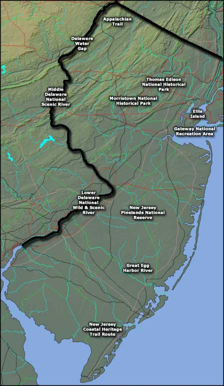 Locations of National Park Service Sites in New Jersey