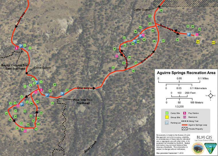 Map of the Aguirre Spring Campground recreation area