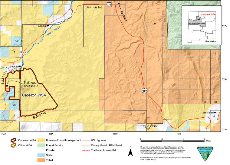 Map of the Cabezon Wilderness Study Area