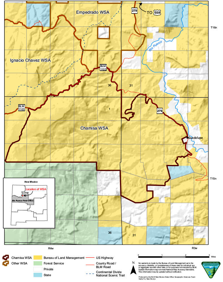 Map of the Chamisa Wilderness Study Area