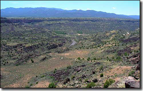Looking down from the west canyon rim to Orilla Verde Recreation Area