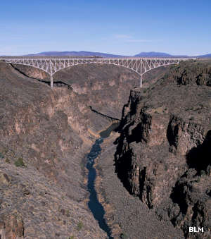A view of Taos Gorge and Taos Gorge Bridge
