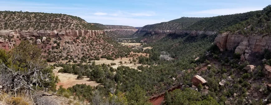 Looking into the canyon area that is Sabinoso Wilderness
