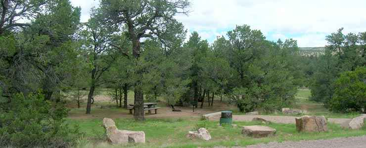 Typical campsites at Datil Well Recreation Area