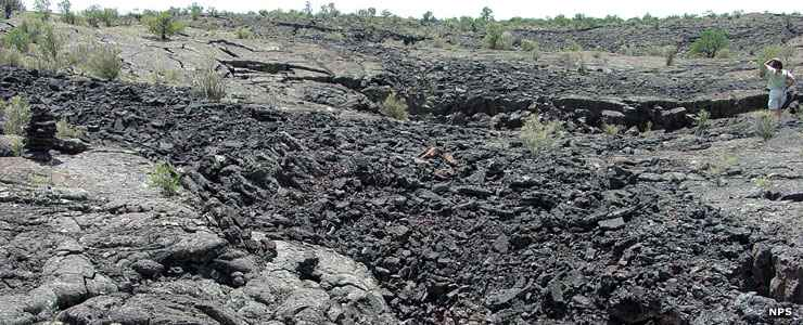A flow of pahoehoe lava at El Malpais National Conservation Area