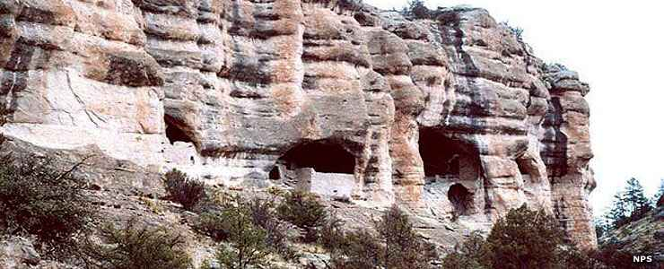Some of the cliff dwellings preserved at Gila Cliff Dwellings National Monument
