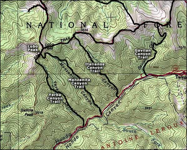 Map of the Columbine-Hondo Wilderness area