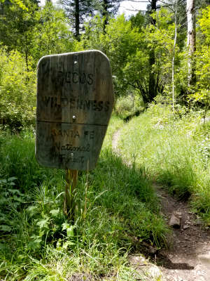 Sign as you enter Pecos Wilderness
