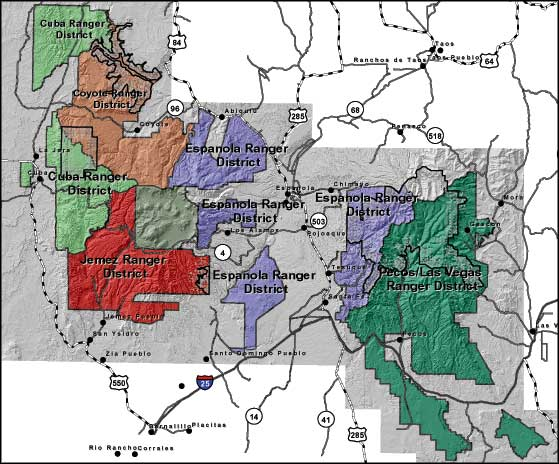Map of Santa Fe National Forest