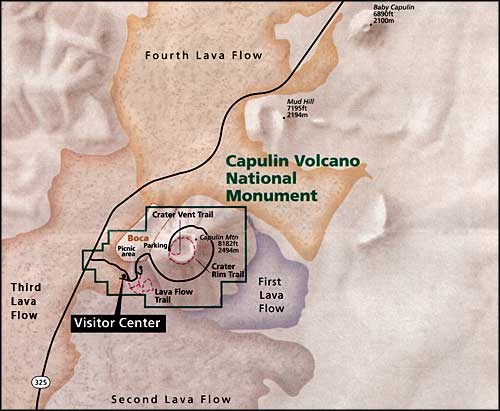 Map showing the mountain and lava flows in the area