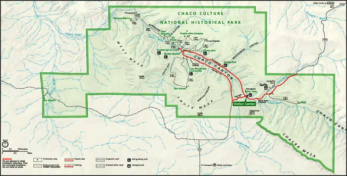 Map of Chaco Culture National Historic Park
