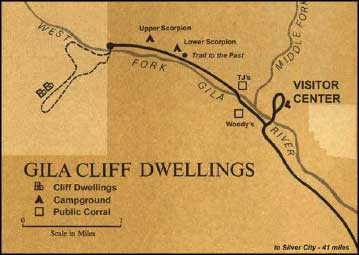 Gila Cliff Dwellings ruins map