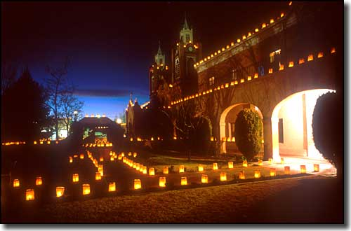 Luminarias at San Felipe de Neri in Albuquerque, along Historic Route 66