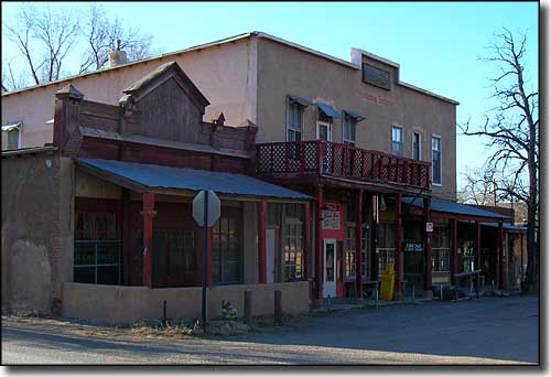 The old Hotel Los Cerrillos along the Turquoise Trail Scenic Byway