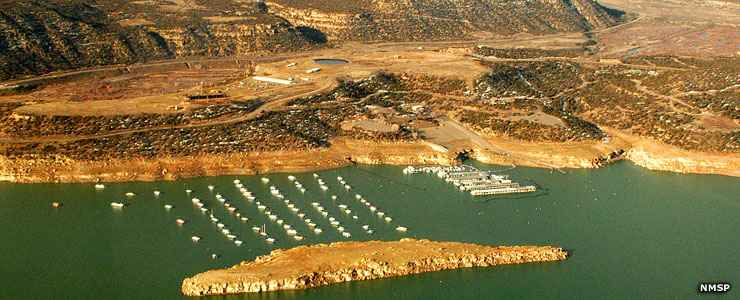 Navajo Lake State Park marina from the air