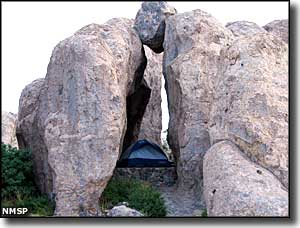 Tent site inside a rock formation