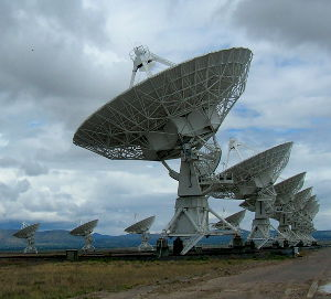 A radio telescope at the Very Large Array, Plains of San Augustin