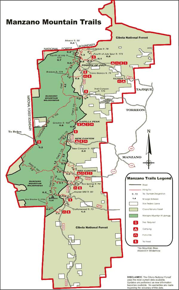 Manzano Mountains Trail map