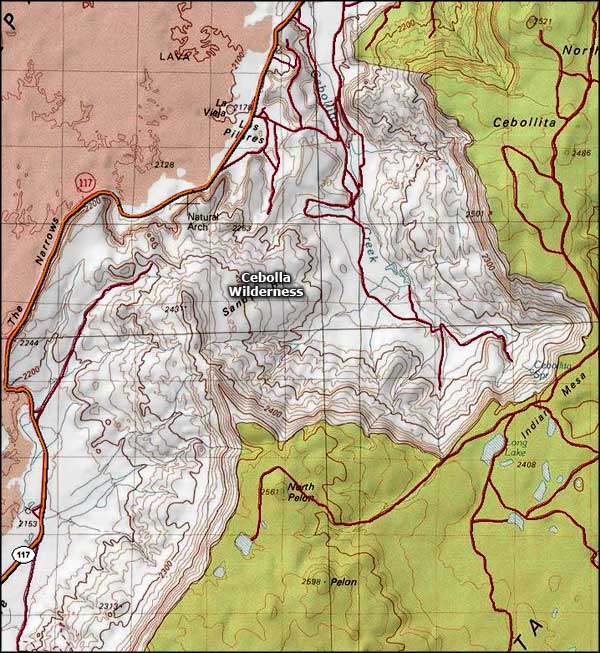 Cebolla Wilderness area map
